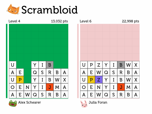 Scramble Legends interface: second iteration
