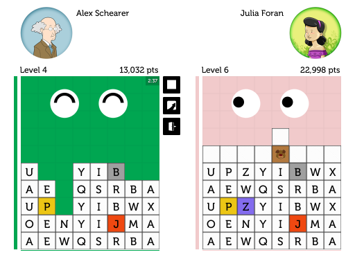 Scramble Legends interface: third iteration